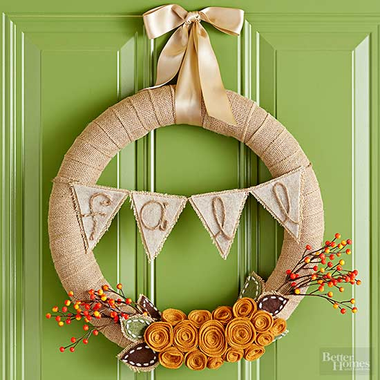 Burlap Bunting Flag Wreath
