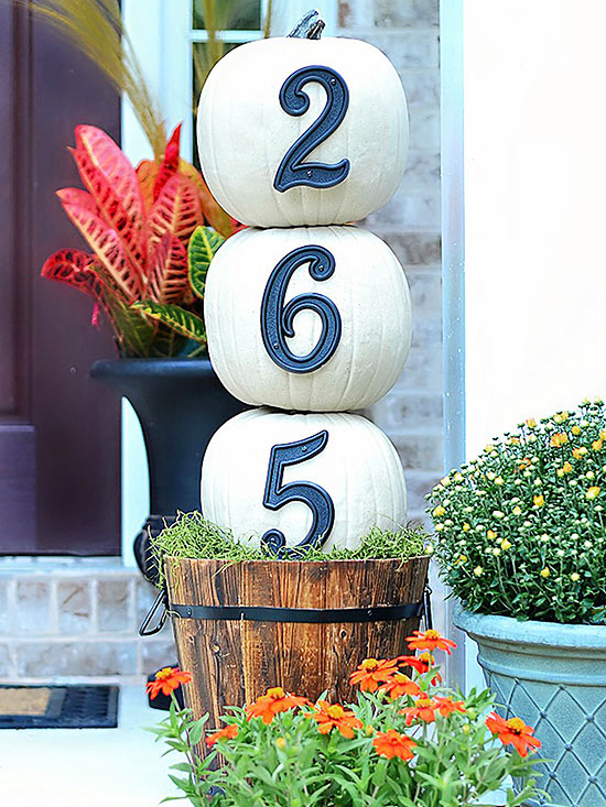 House Number Pumpkin Topiary