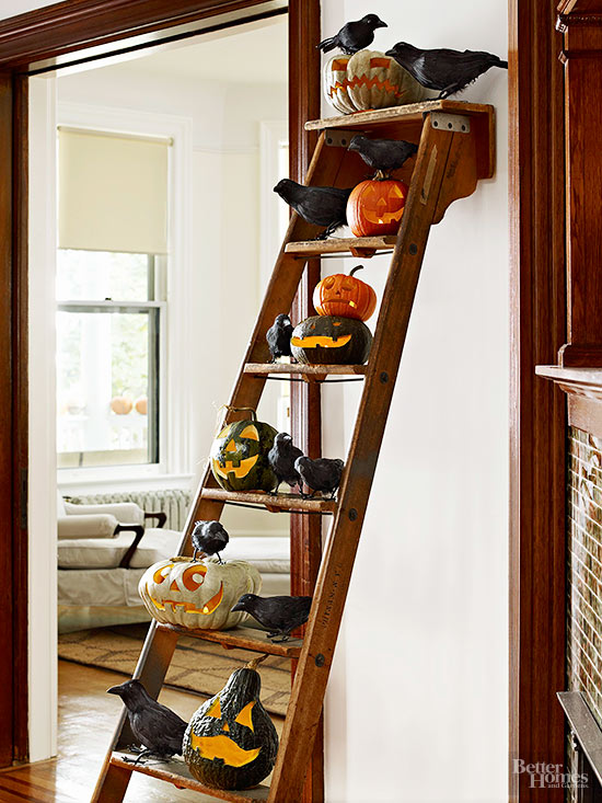 Propped Halloween Ladder