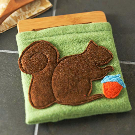 Felt Squirrel Trivet Cover