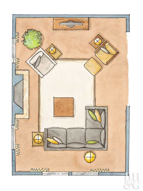 Furniture Arrangement, Living Room Floor Plan
