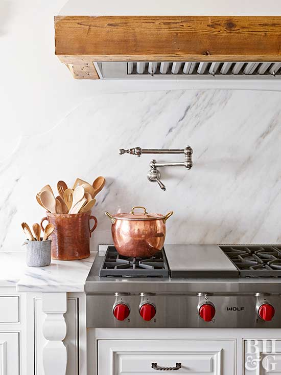 marble kitchen, stove top, copper