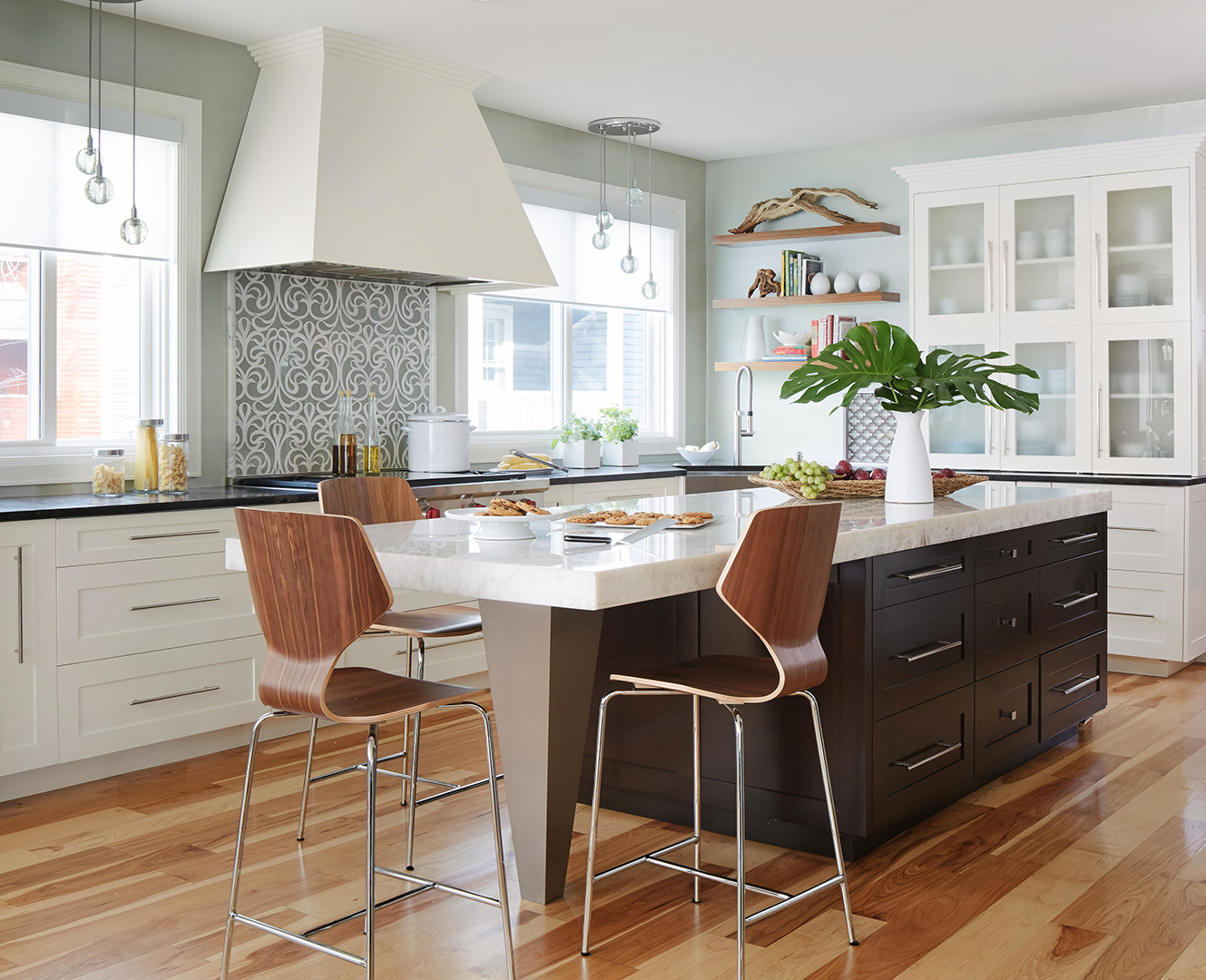 kitchen with large island and wood flooring