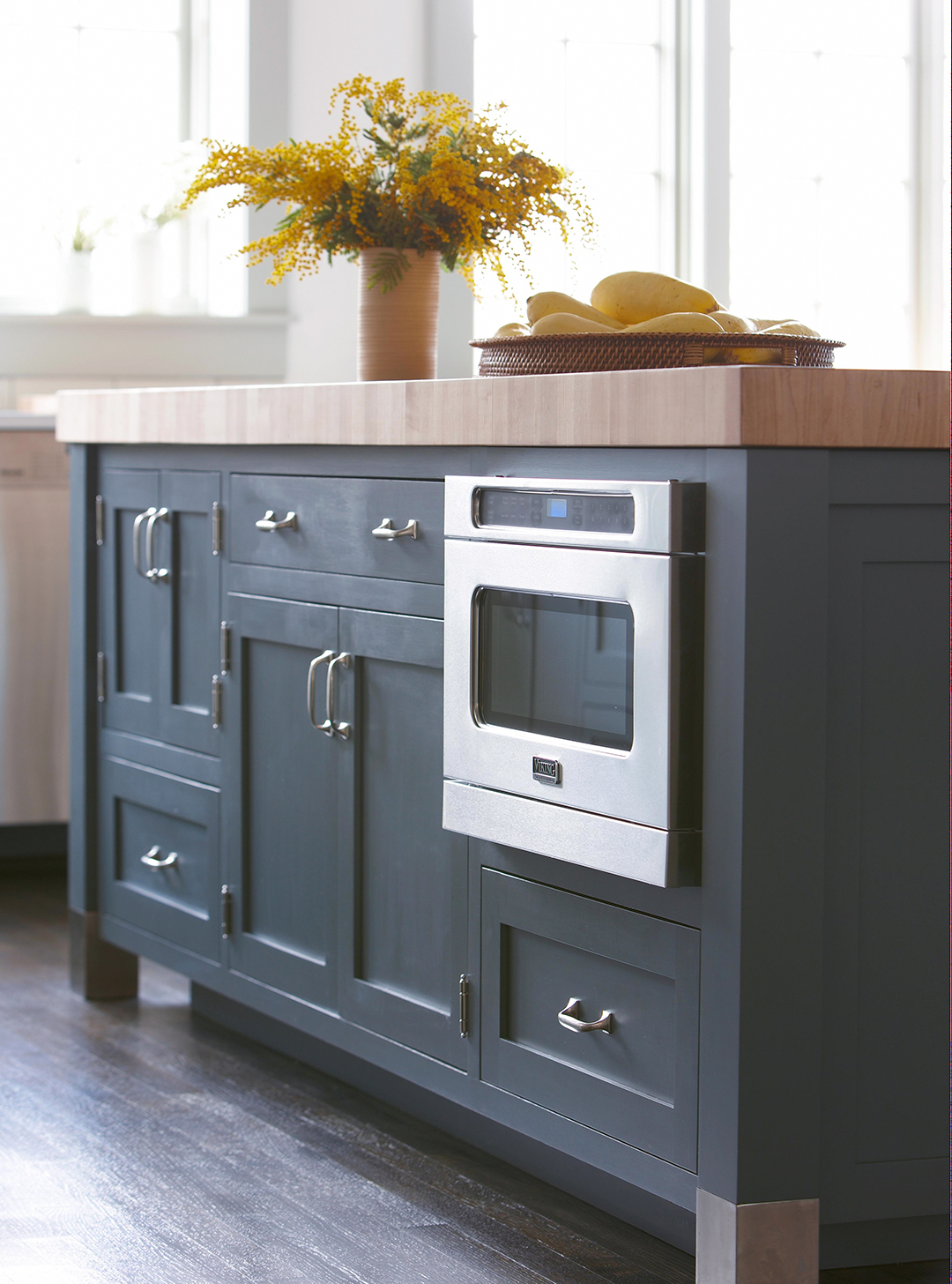 under counter blue kitchen cabinets and appliance
