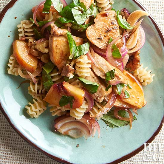 Peachy Chicken Pasta Salad