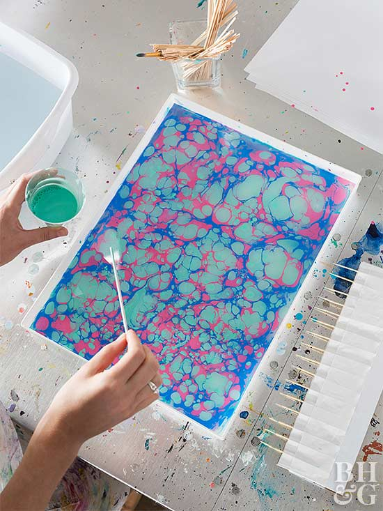 paper marbling party teal