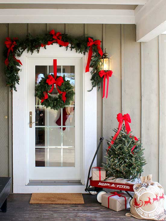 Red Ribbons and Holiday Decor
