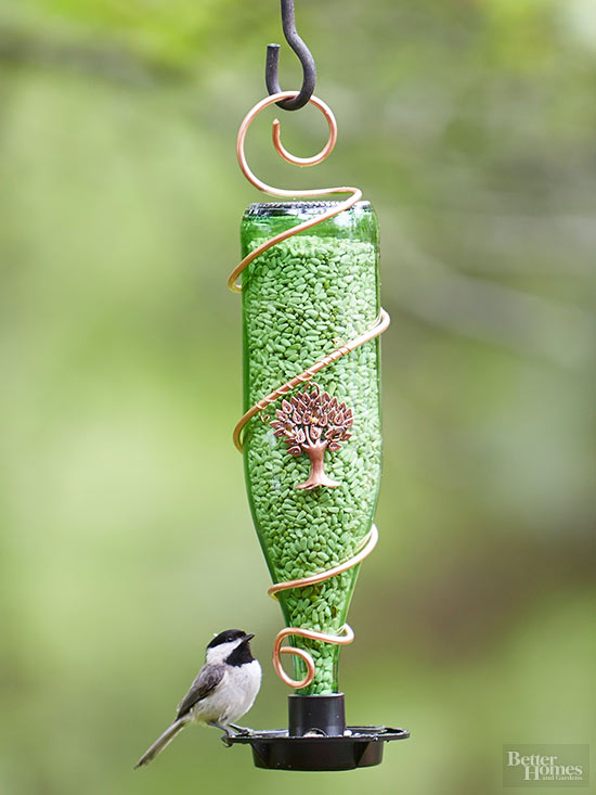 Wine Bottle Bird Feeder | Super Cool Wine Bottle Crafts and Ideas To DIY