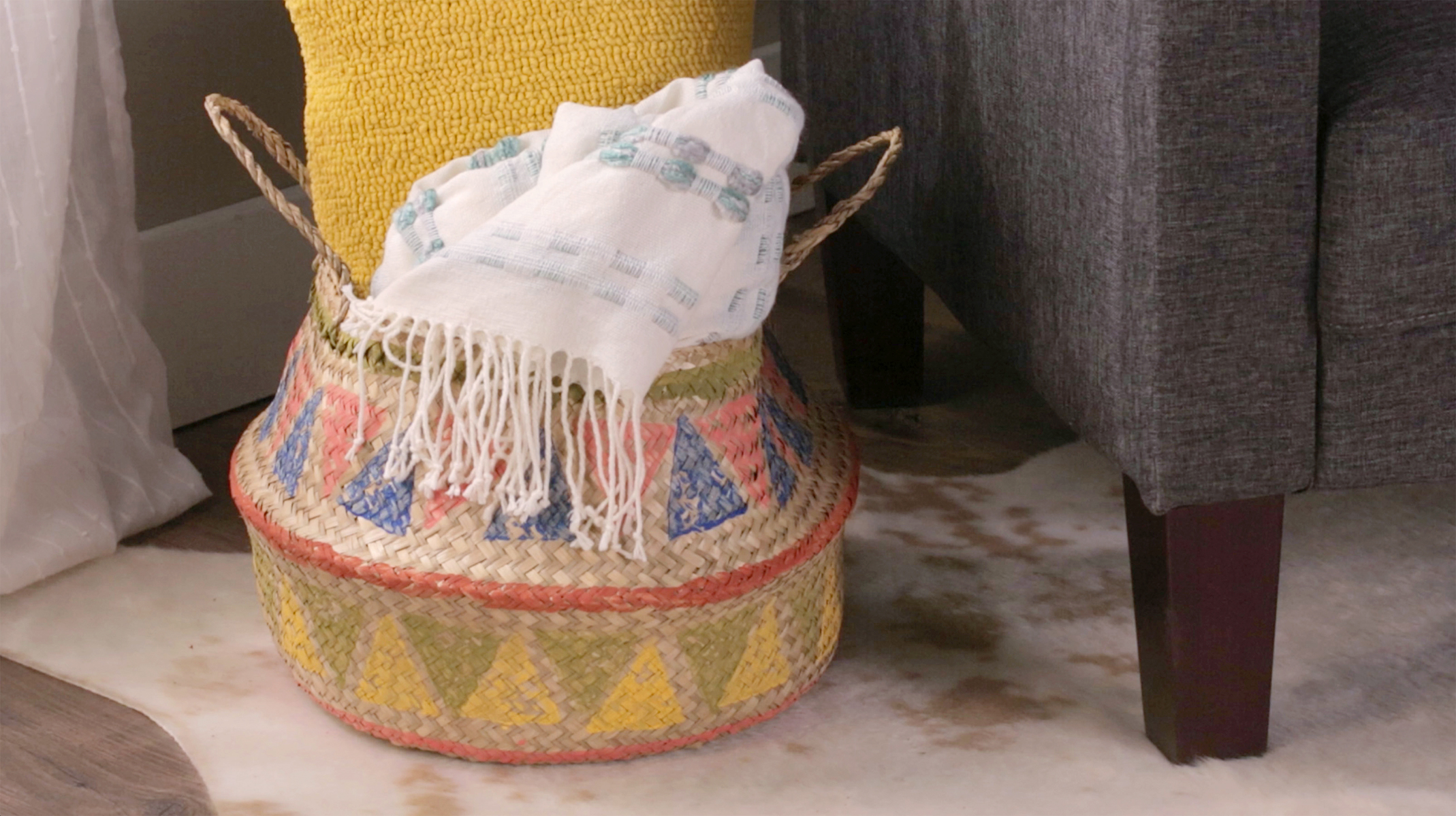 wicker basket colorfully painted
