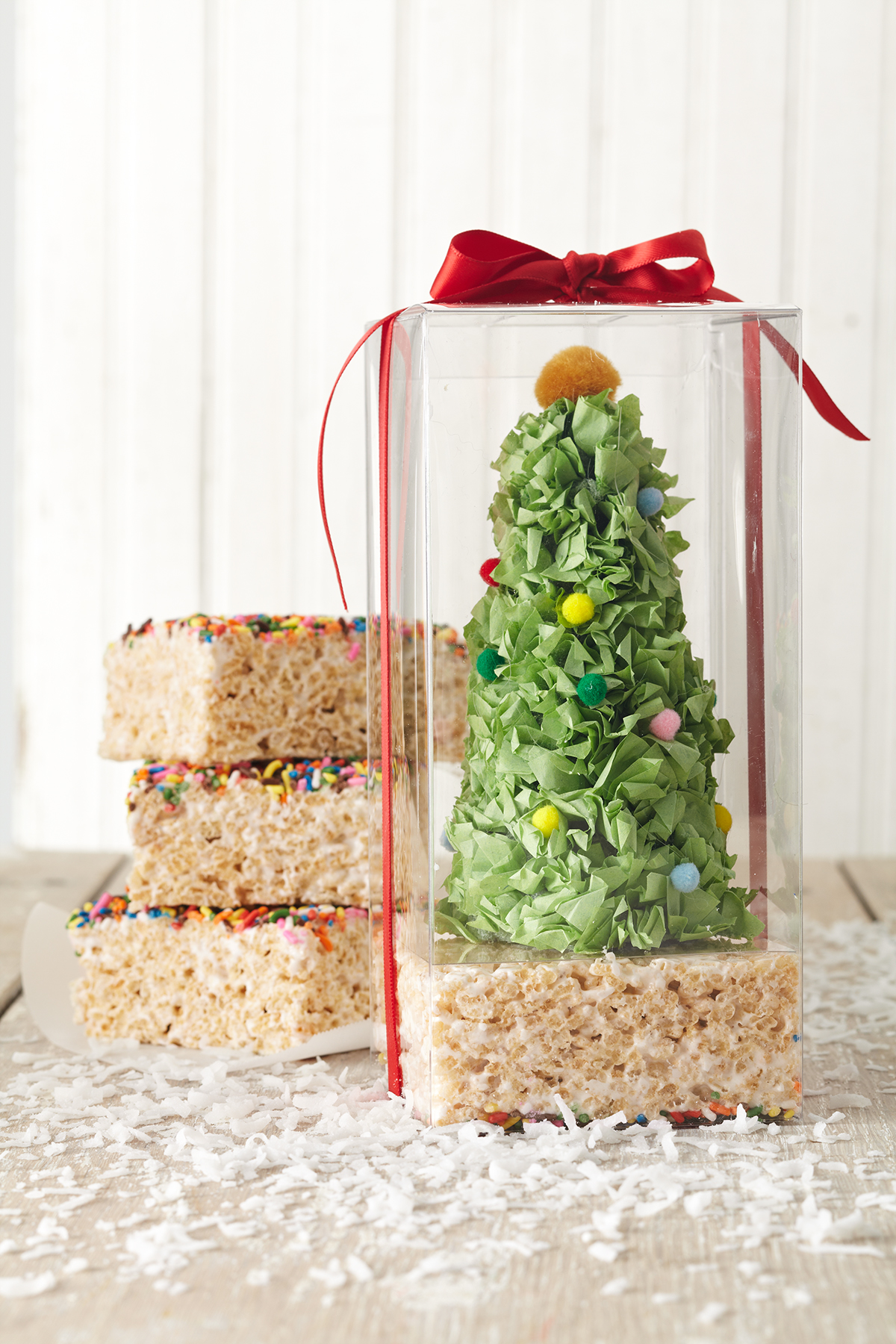 marshmallow treat gift in clear box with tissue paper tree