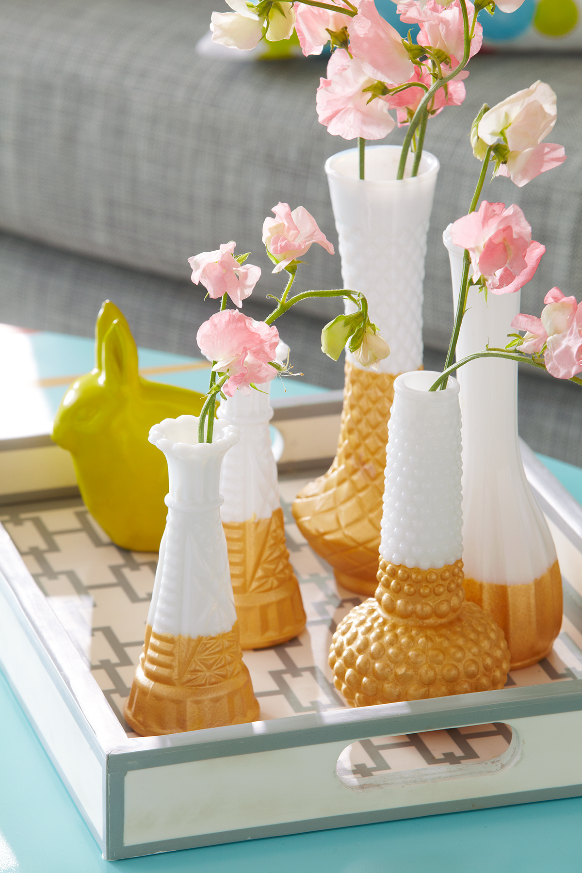 milk glass vases dipped in gold paint