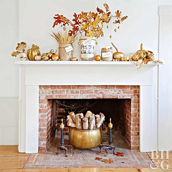 mantel with gold fall decorations