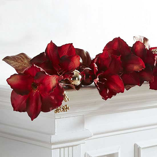 pier1 faux amaryllis and magnolia leaves