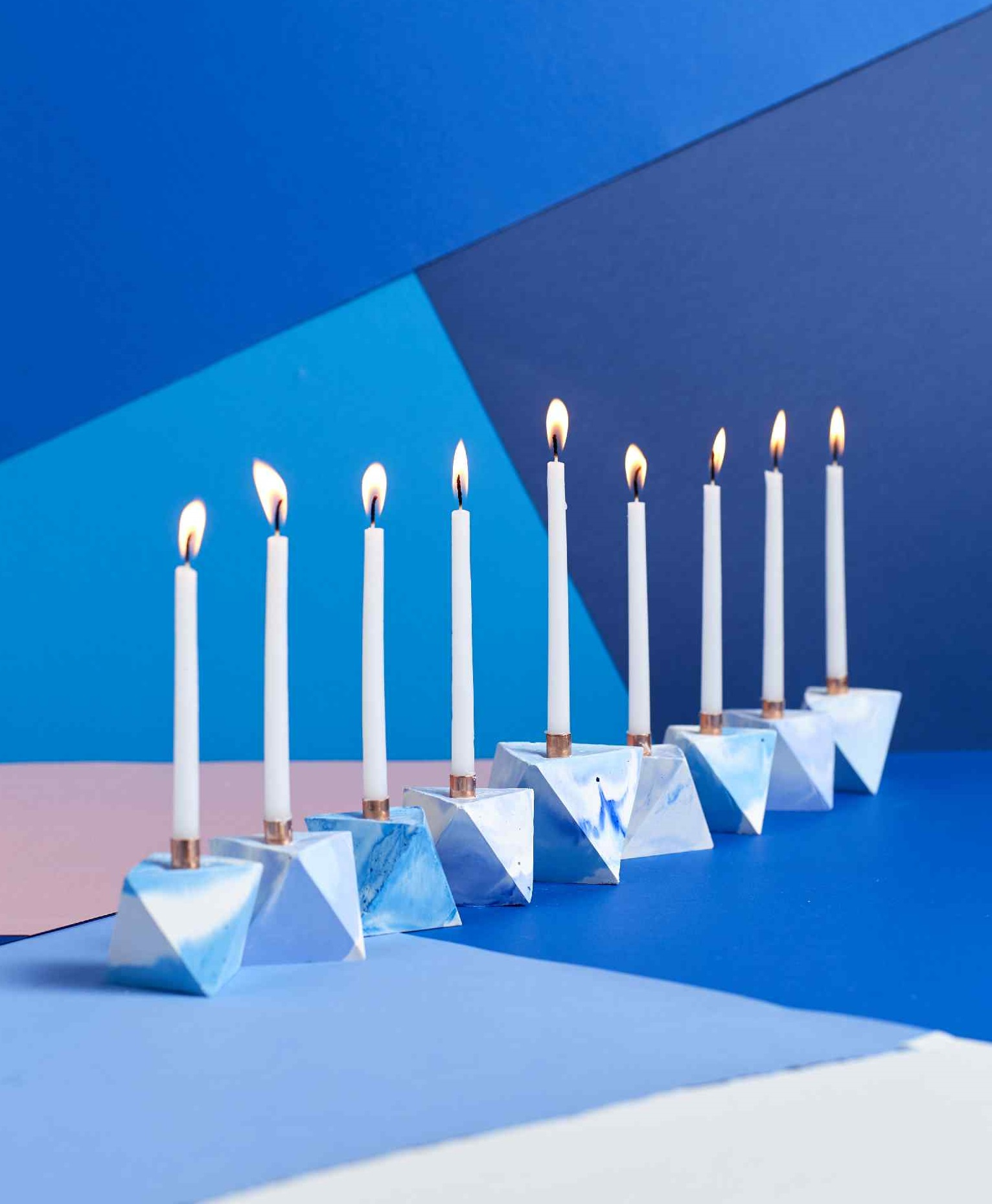 Make a Modern Marbled Menorah from Concrete
