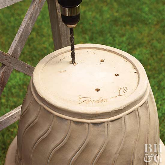 drill drain holes container