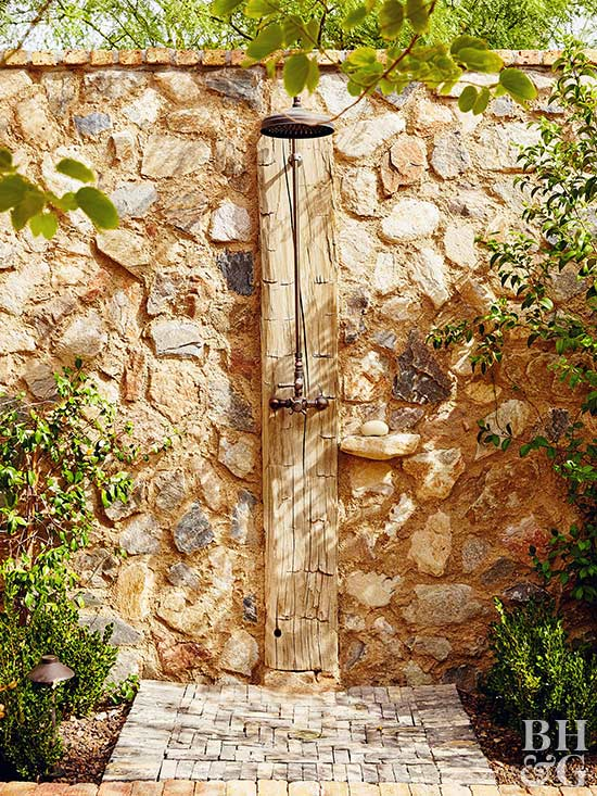 stone wall outdoor shower