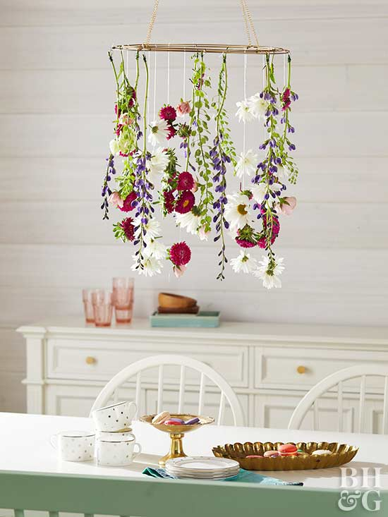 hanging floral craft above table