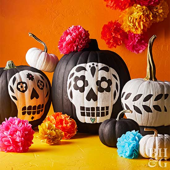 day of the dead skull pumpkin decorations