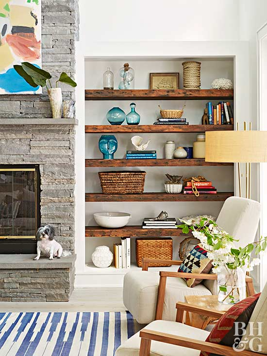 built-in shelving with natural wood