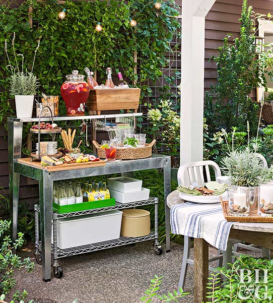 Turn an Ordinary Potting Bench into an Outdoor Party Station