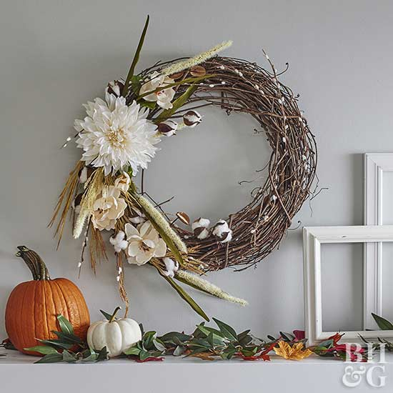 fall wreath over mantel
