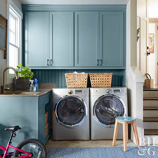 laundry room, teal cabinets, laundry