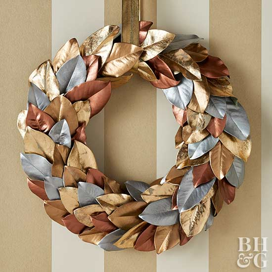 Metallic Magnolia Wreath