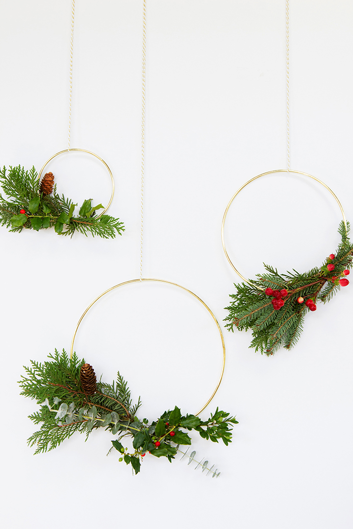 Make these Gold Macrame Ring Wreaths for a Modern Take on Tradition