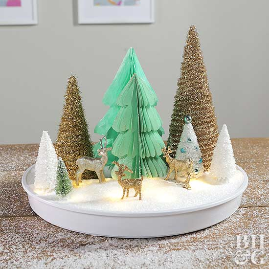 How to Make a Christmas Centerpiece with Paper Trees