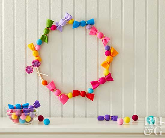 felt candy wreath, wreath, DIY