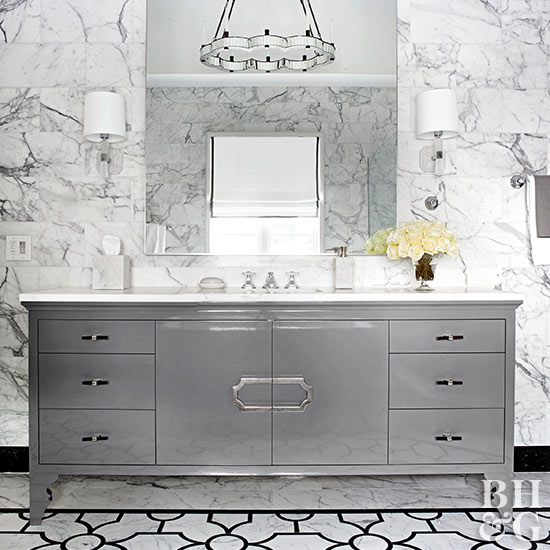 black and white bathroom marble wall