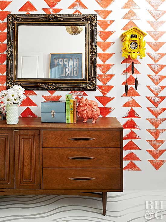 Your Bedroom Makeover Needs This Stamped Accent Wall