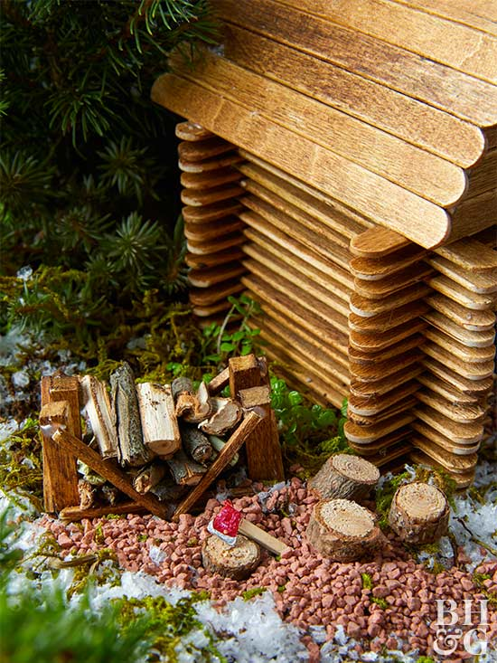 How to Make a Tiny Wood-Chopping Station For a Fairy Garden