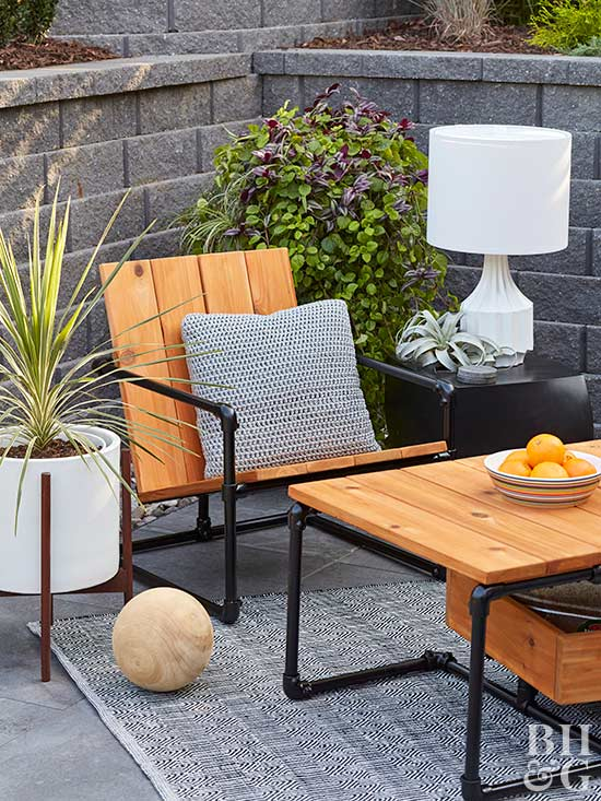 wood and pvc pipe patio chair