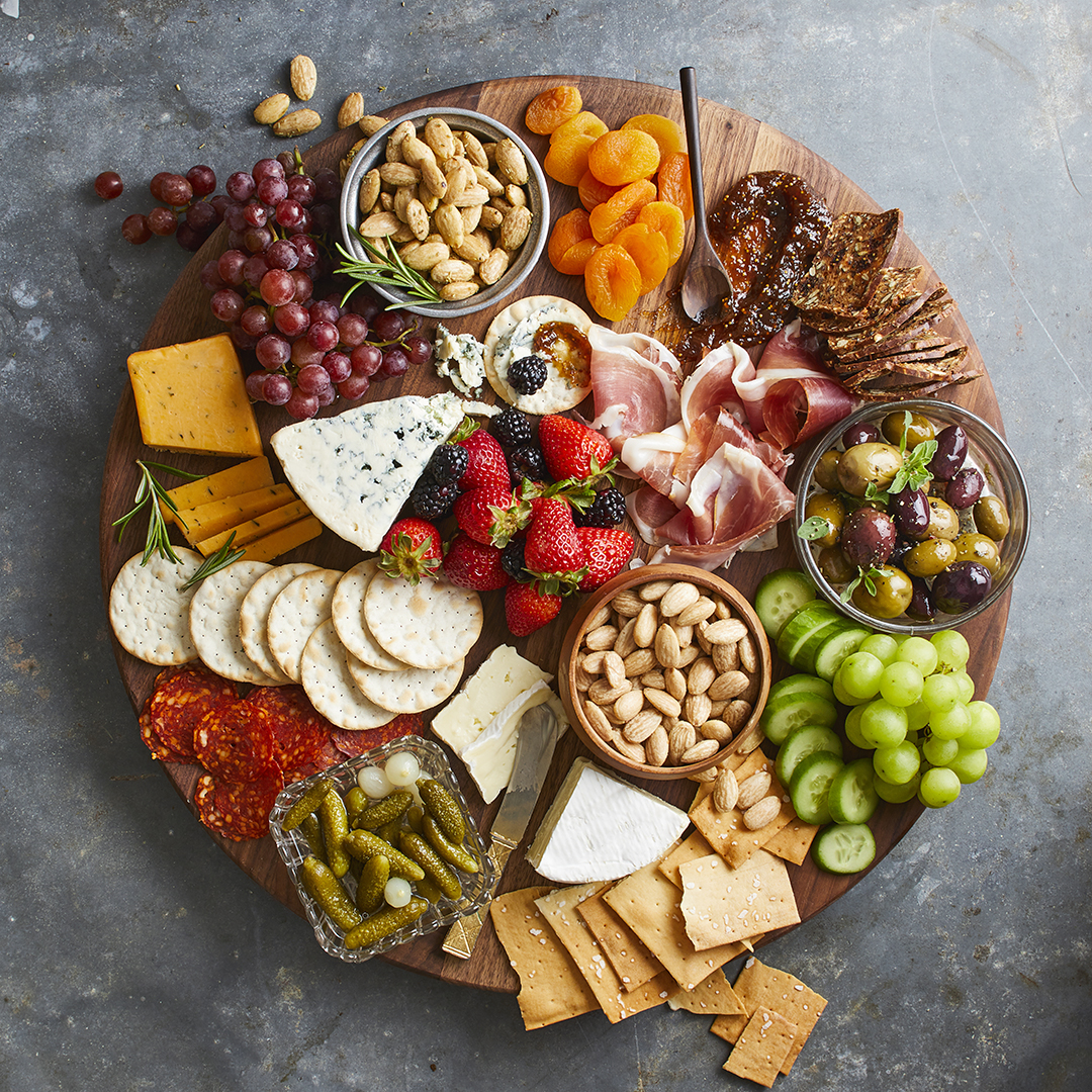 almonds and strawberries and more on charcuterie plate