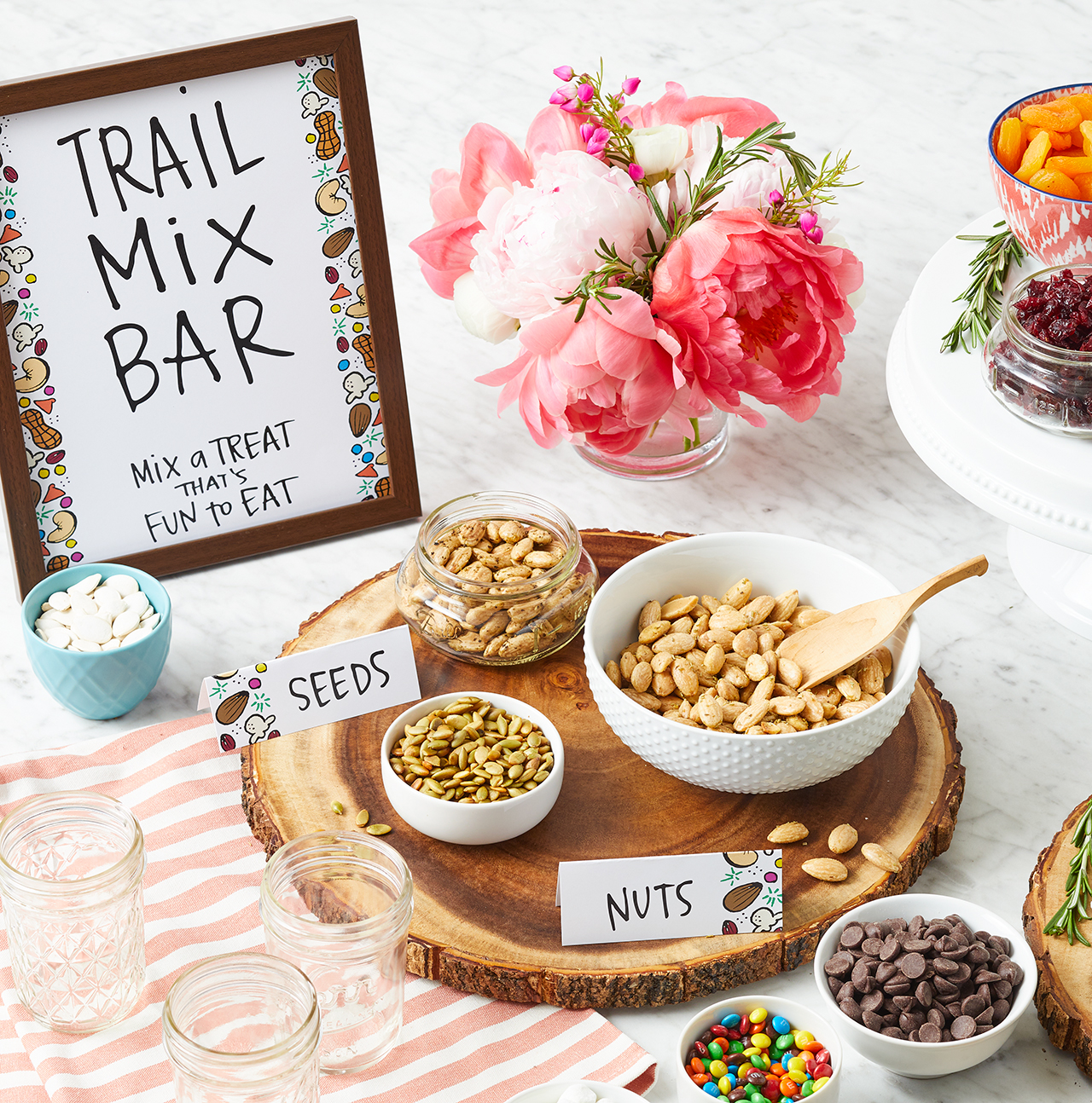 seeds and nuts trail mix ingredients with sign