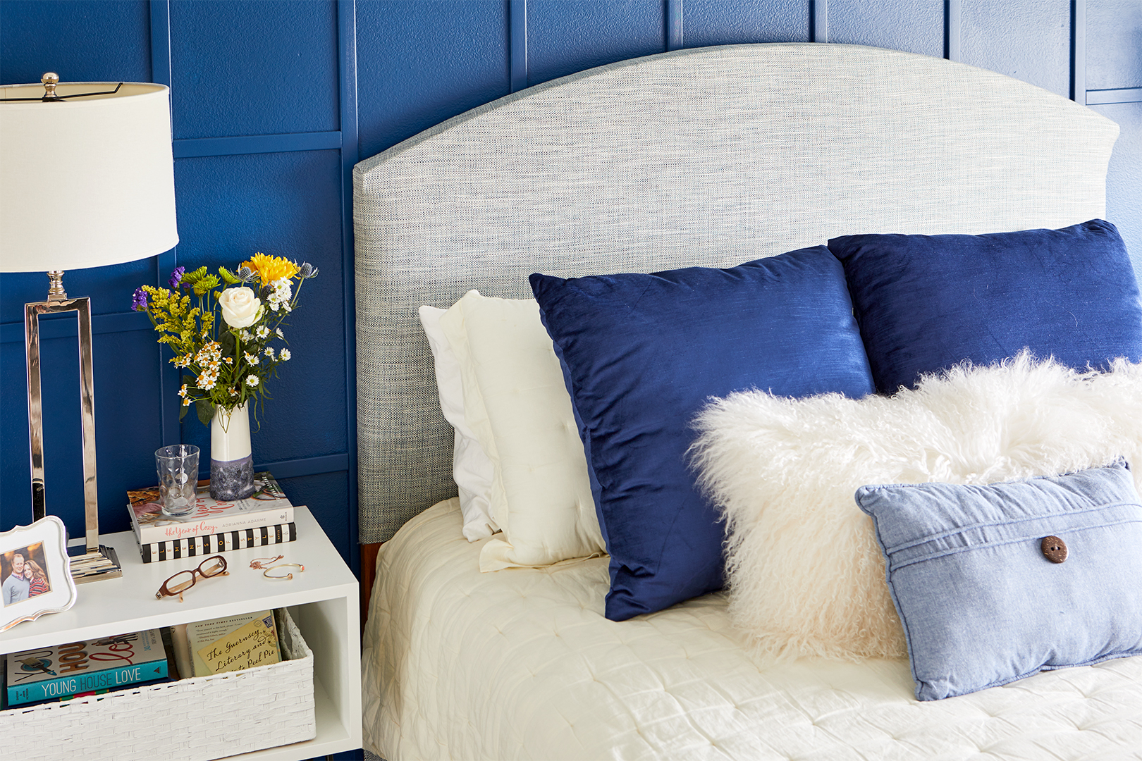blue bedroom wall fabric headboard