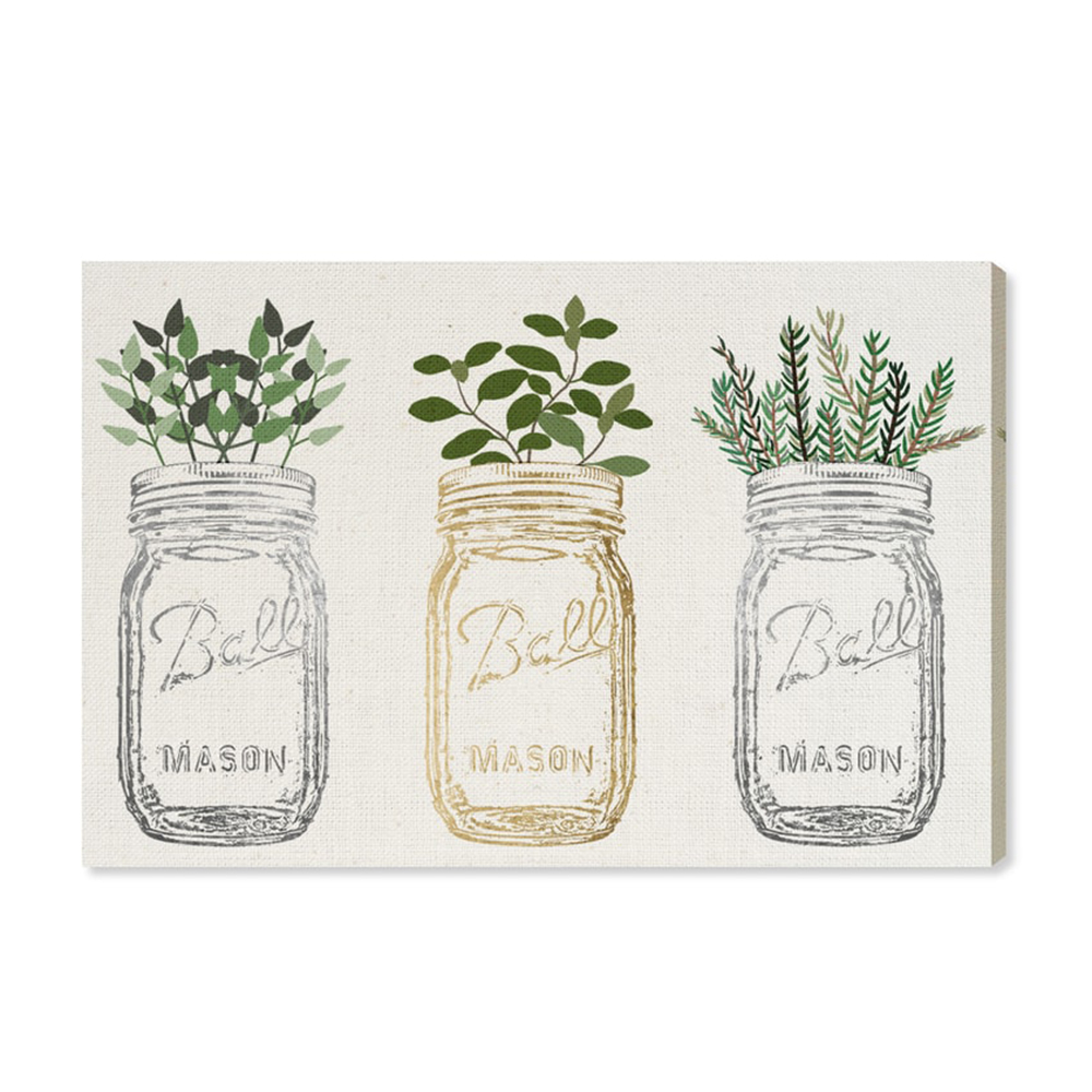 Canvas of mason jars filled with herbs