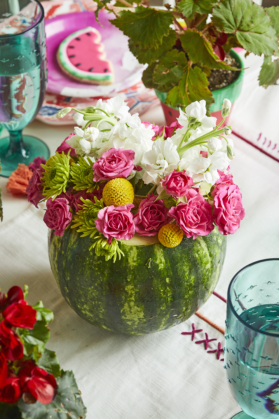 watermelon planter with flowers