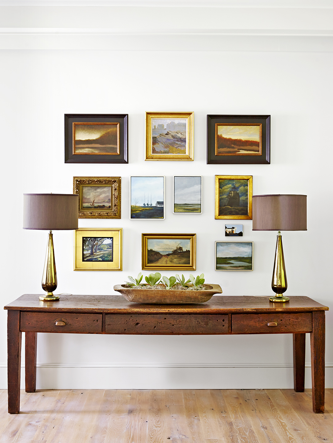 pictures arranged over rustic table