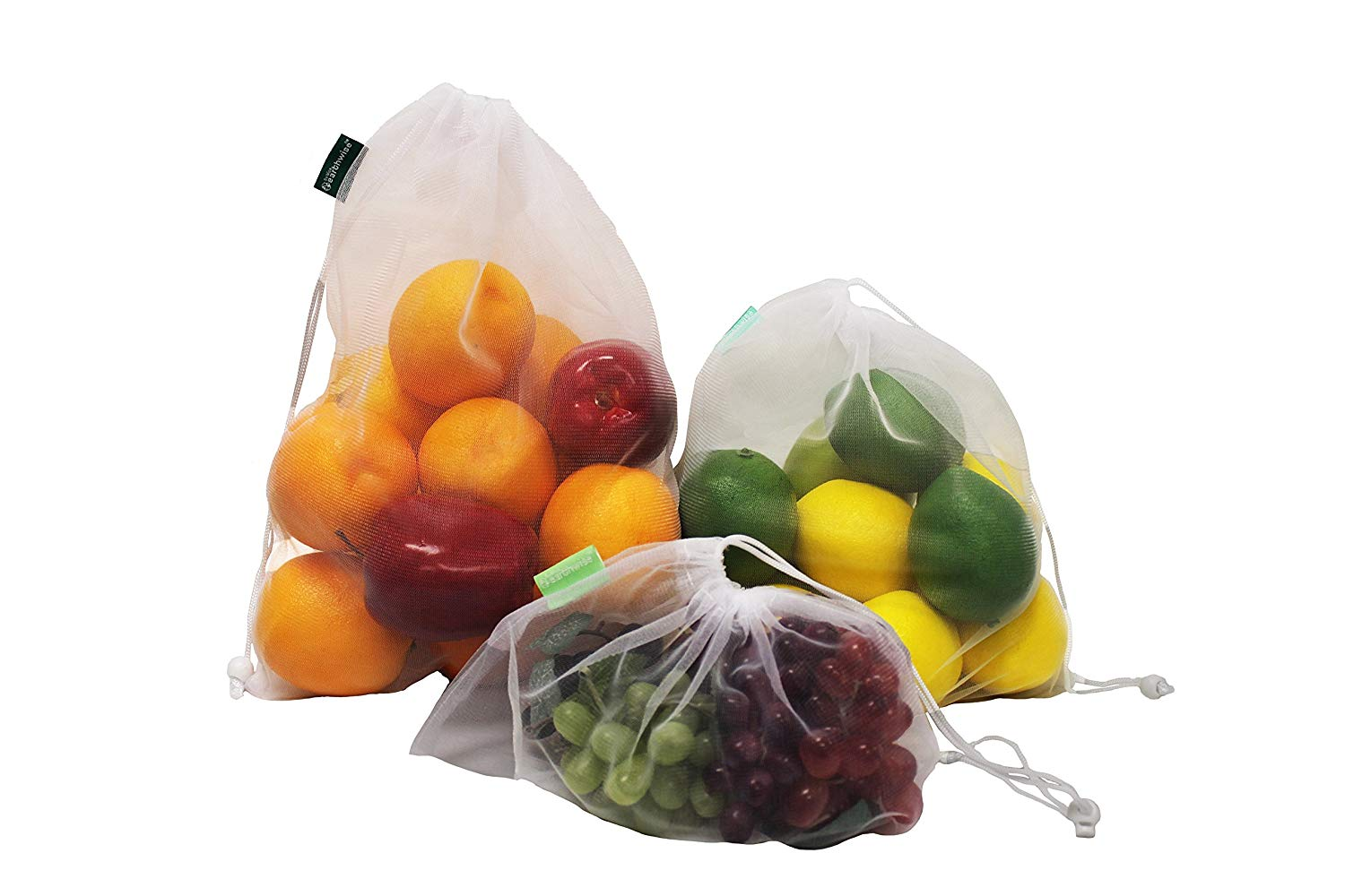 mesh reusable product bags of fruit