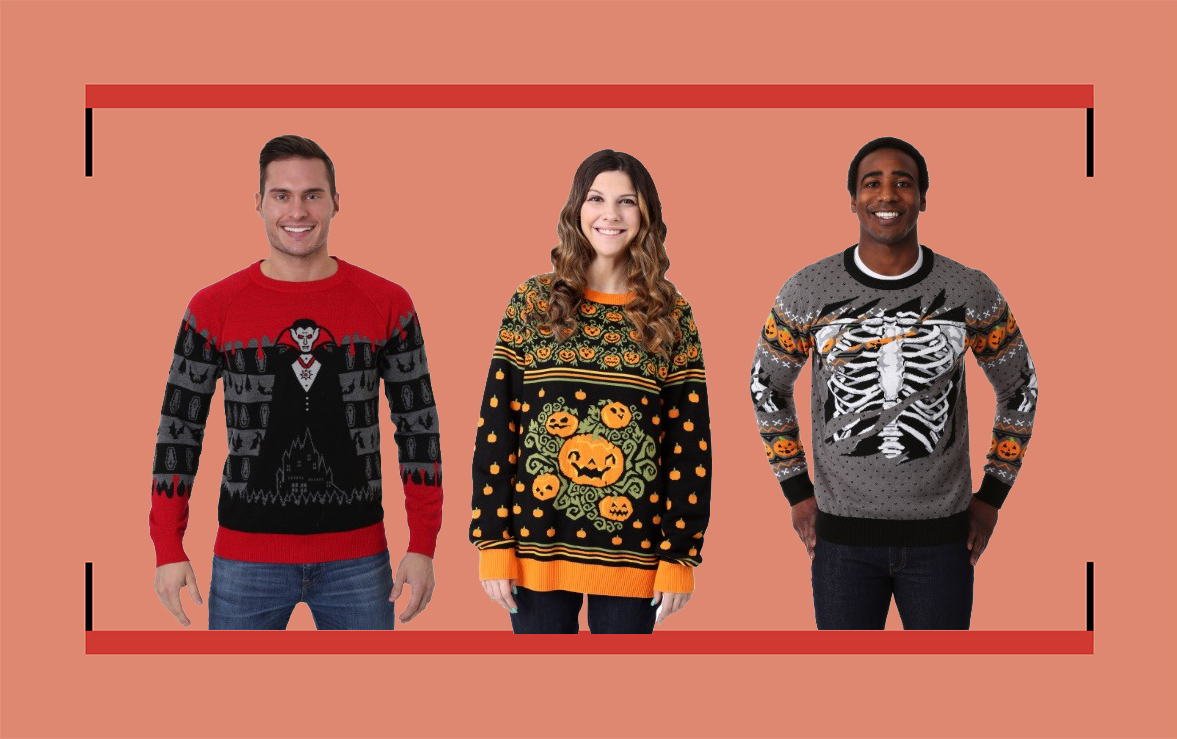 three audlts wearing halloween sweaters from Spirit Halloween against a red background