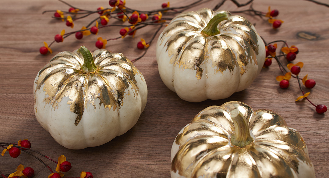 These Gold-Leaf Pumpkins Are So Easy to Make