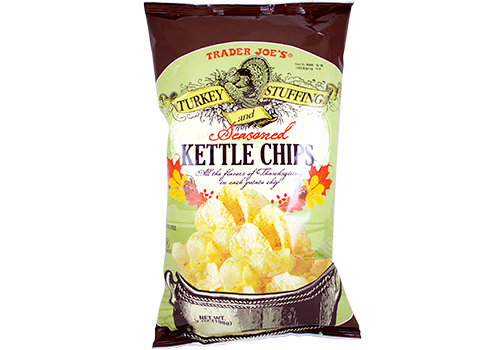 Brown and green back of Trader Joe's Turkey Stuffing Kettle Chips