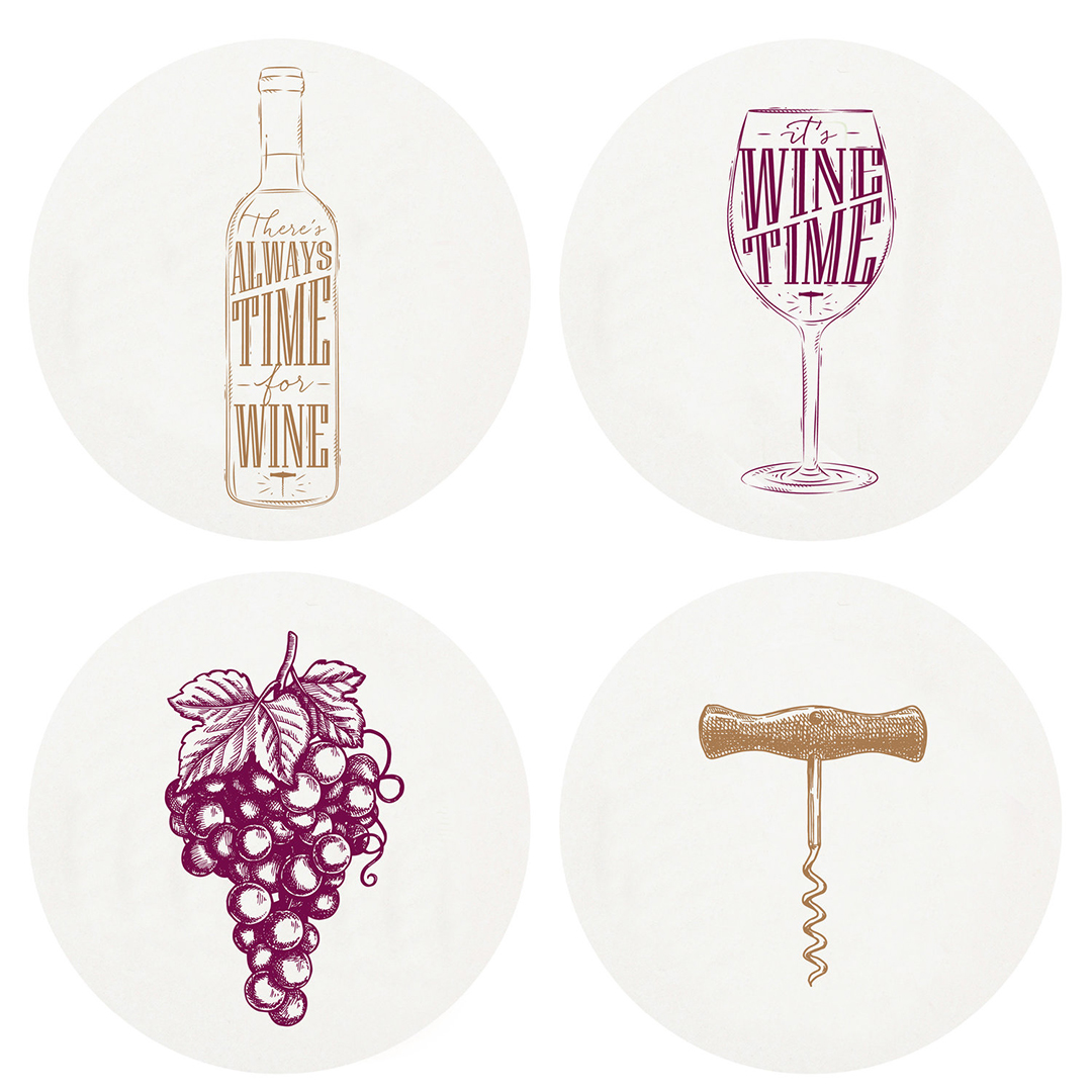 letterpress wine coasters four designs