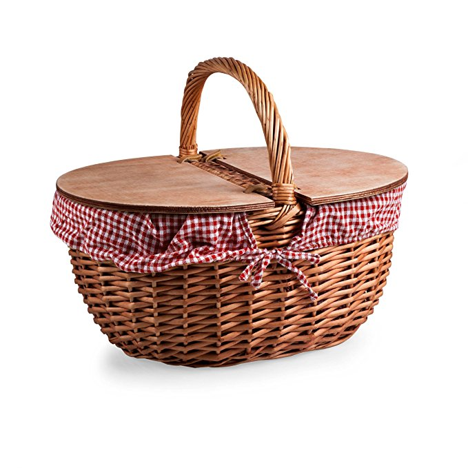 country picnic basket with gingham