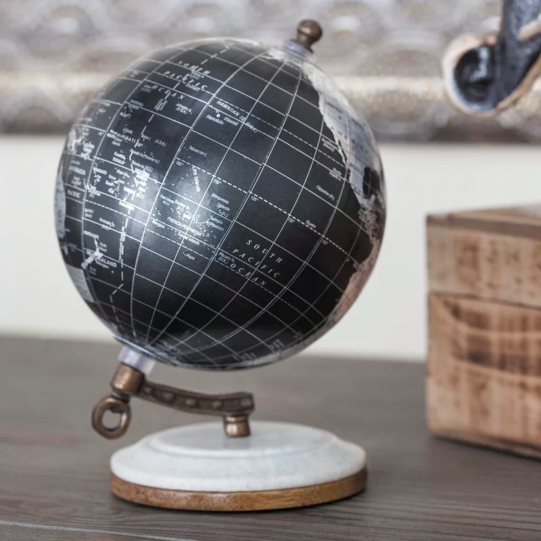 marble resin globe on desk