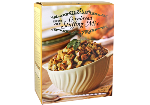 Yellow box of Trader Joe's Cornbread Stuffing Mix