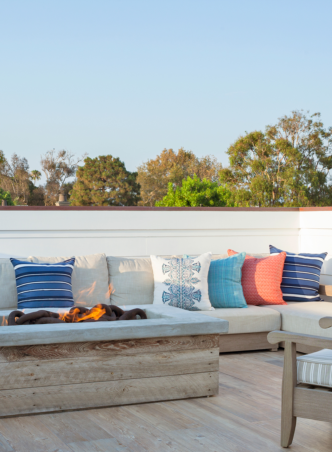 reclaimed wood rooftop deck with seating
