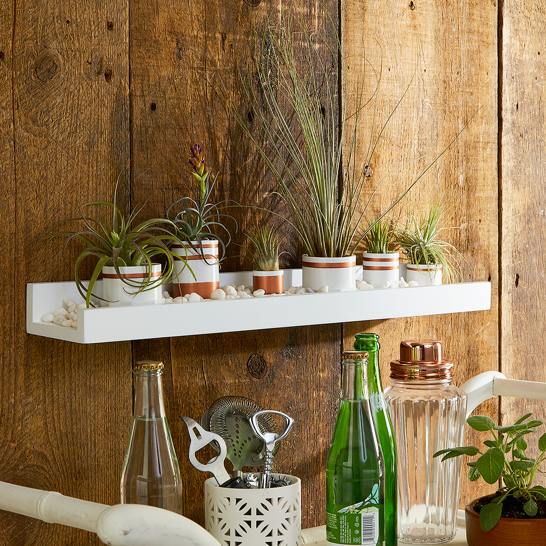 white floating shelf with pvc pipe planters